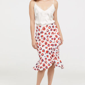 H&H Printed ruffle midi skirt